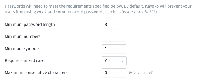 screenshot of password policy options